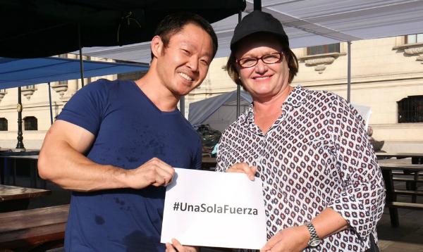 Kenji Fujimori entrega donaciones a primera dama, Nancy Lange