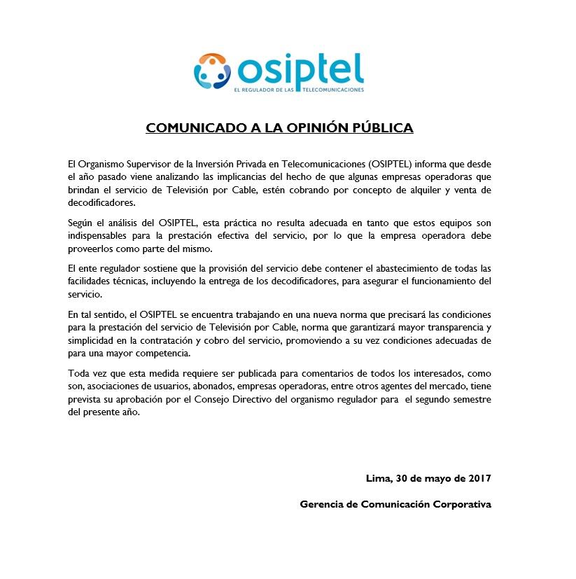 Osiptel: no es adecuado cobro por decodificadores por parte de operadoras